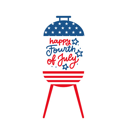 BBQ grill party invitation card template. Flat design icon Star and strip pattern Happy independence day United states of America. 4th of July. Flat design Vector illustration with lettering