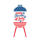 BBQ grill party invitation card template. Flat design icon Star and strip pattern Happy independence day United states of America. 4th of July. Flat design Vector illustration with lettering.