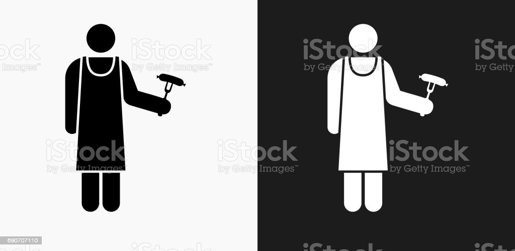 Grill Person Icon on Black and White Vector Backgrounds vector art illustration
