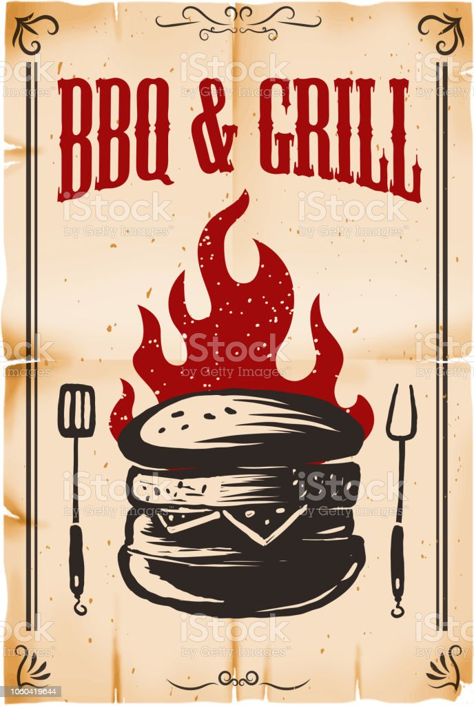 bbq grill poster template with burger illustration on grunge