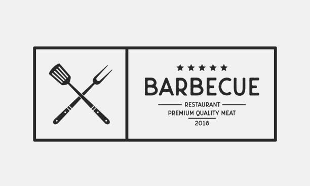 grill restaurant logo. barbecue restaurant menu emblem. vintage design. vector illustration - grilling stock illustrations