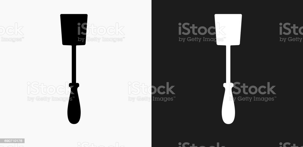 Grill Spatula Icon on Black and White Vector Backgrounds vector art illustration