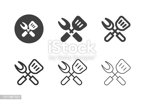 Grill Utensils Icons Multi Series Vector EPS File.