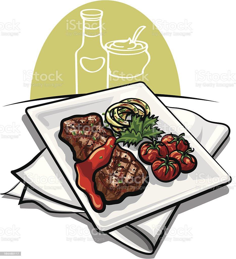 grilled beef steak royalty-free stock vector art