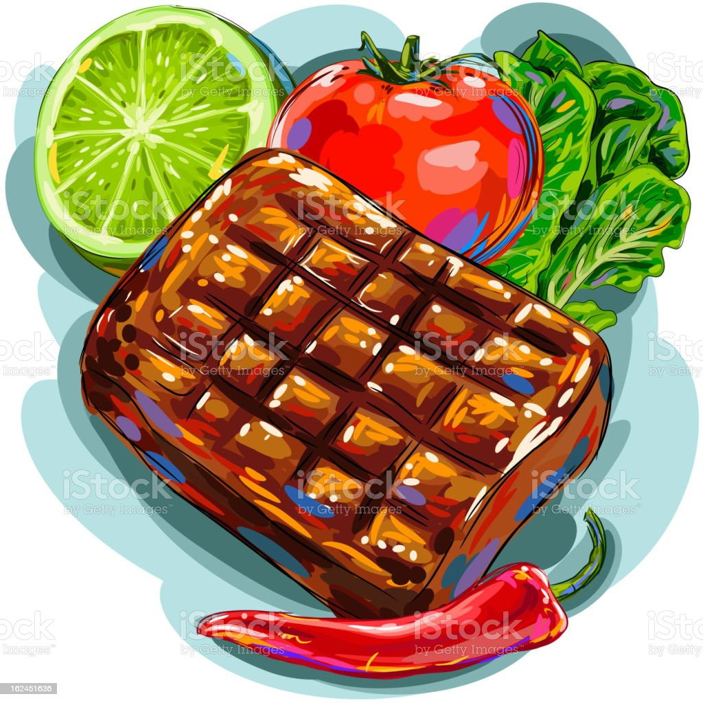 Grilled Beef with Vegetables vector art illustration