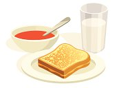 A cartoon grilled cheese sandwich with a bowl of tomato soup and a glass of milk.
