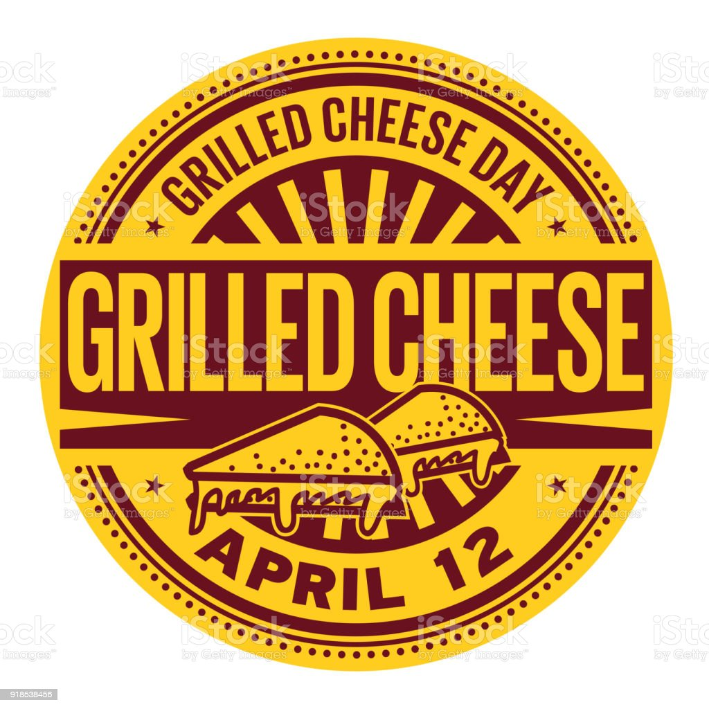 Grilled Cheese Day stamp vector art illustration