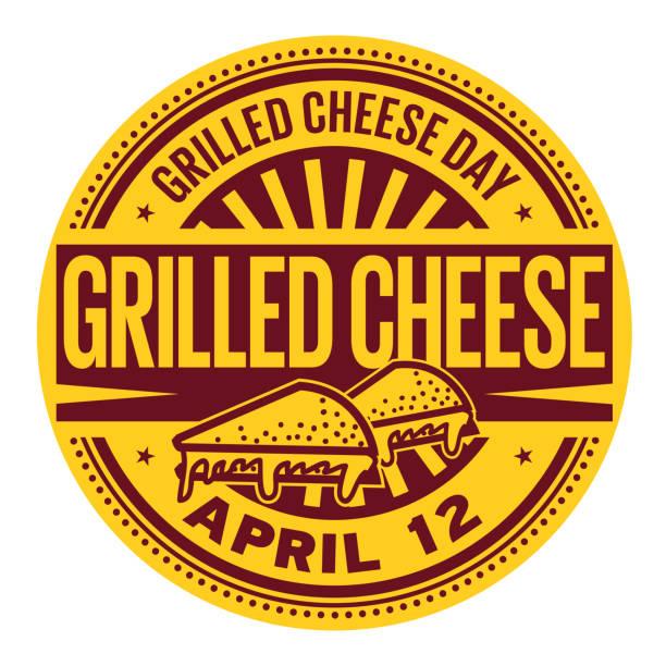 bildbanksillustrationer, clip art samt tecknat material och ikoner med grillad ost dag stämpel - cheese sandwich