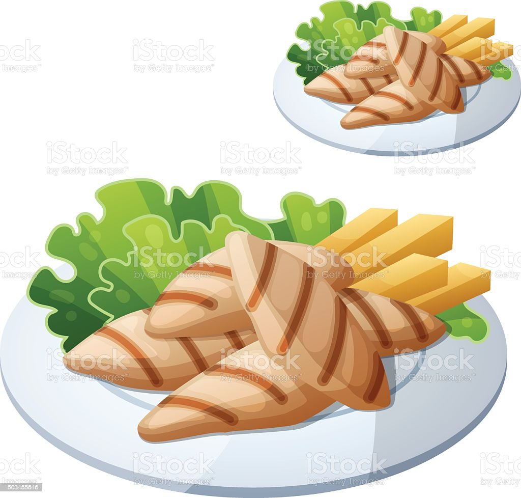 Grilled chicken strips. Detailed vector icon isolated on white background vector art illustration