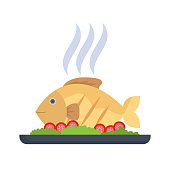 grilled fish. eps 10 vector file