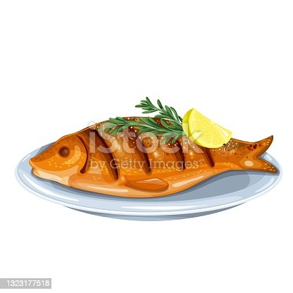 istock Grilled fish with rosemary and lemon 1323177518