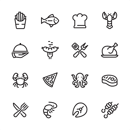 Grilled Food and Seafood - outline icon set