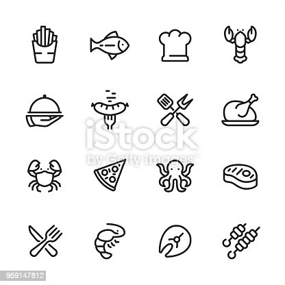 16 line black on white icons / Set #49 Pixel Perfect Principle - all the icons are designed in 48x48pх square, outline stroke 2px.  First row of outline icons contains:  French Fries, Tuna Fish, Chef's Hat, Lobster - Seafood;  Second row contains:  Serving Tray in Human hand, Grilled Sausage on Fork, Crossed Spatula and Kitchen Fork, Cooked roast chicken;  Third row contains:  Crab-Seafood, Pizza, Octopus - Seafood, Steak;   Fourth row contains:  Crossed Fork and Table Knife, Shrimp - Seafood, Fish Fillet, Kebab.  Complete Inlinico collection - https://www.istockphoto.com/collaboration/boards/2MS6Qck-_UuiVTh288h3fQ