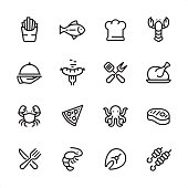 16 line black on white icons / Set #49\nPixel Perfect Principle - all the icons are designed in 48x48pх square, outline stroke 2px.\n\nFirst row of outline icons contains: \nFrench Fries, Tuna Fish, Chef's Hat, Lobster - Seafood;\n\nSecond row contains: \nServing Tray in Human hand, Grilled Sausage on Fork, Crossed Spatula and Kitchen Fork, Cooked roast chicken;\n\nThird row contains: \nCrab-Seafood, Pizza, Octopus - Seafood, Steak; \n\nFourth row contains: \nCrossed Fork and Table Knife, Shrimp - Seafood, Fish Fillet, Kebab.\n\nComplete Inlinico collection - https://www.istockphoto.com/collaboration/boards/2MS6Qck-_UuiVTh288h3fQ