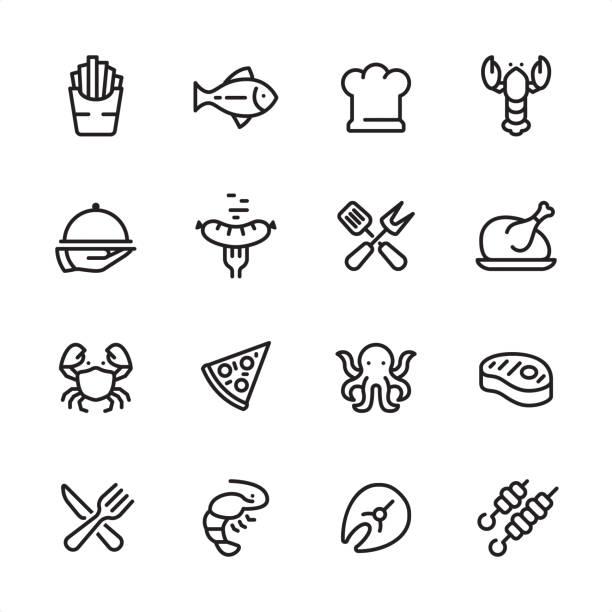 gegrillte speisen und meeresfrüchte - gliederung-icon-set - lachs meeresfrüchte stock-grafiken, -clipart, -cartoons und -symbole