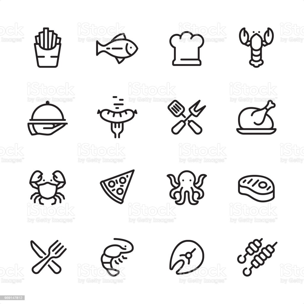Grilled Food and Seafood - outline icon set vector art illustration