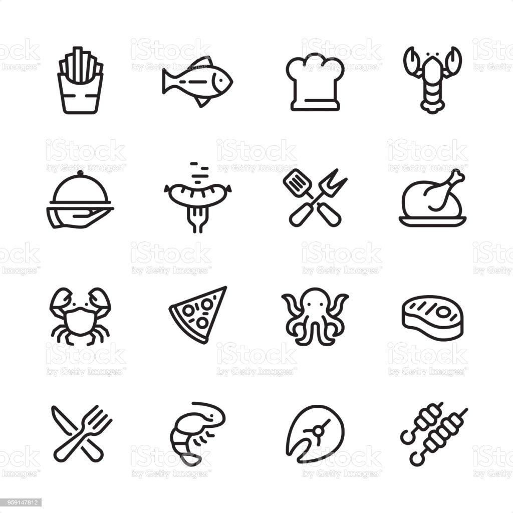 Grelhado alimentos e frutos do mar - conjunto de ícones de contorno - ilustração de arte em vetor