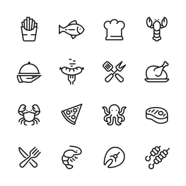 Grilled Food and Seafood - outline icon set 16 line black on white icons / Set #49 Pixel Perfect Principle - all the icons are designed in 48x48pх square, outline stroke 2px.  First row of outline icons contains:  French Fries, Tuna Fish, Chef's Hat, Lobster - Seafood;  Second row contains:  Serving Tray in Human hand, Grilled Sausage on Fork, Crossed Spatula and Kitchen Fork, Cooked roast chicken;  Third row contains:  Crab-Seafood, Pizza, Octopus - Seafood, Steak;   Fourth row contains:  Crossed Fork and Table Knife, Shrimp - Seafood, Fish Fillet, Kebab.  Complete Inlinico collection - https://www.istockphoto.com/collaboration/boards/2MS6Qck-_UuiVTh288h3fQ poultry stock illustrations