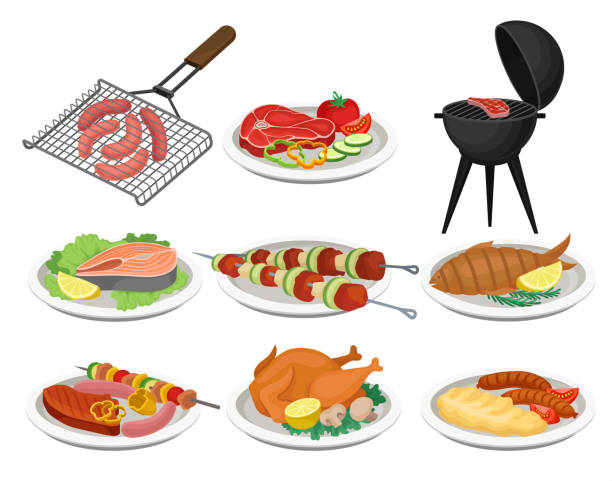 illustrazioni stock, clip art, cartoni animati e icone di tendenza di grilled food set, delicious dishes for barbecue party menu, meat food vector illustration on a white background - piatto stoviglie