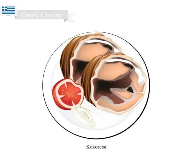 bildbanksillustrationer, clip art samt tecknat material och ikoner med grillad kokoretsi, den populära maträtten av grekland - kokoreç