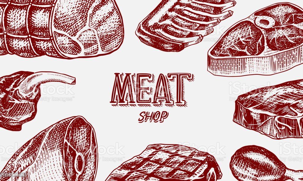 Grilled meat poster, Pork or beef steak. Barbecue BBQ banner. Food in...