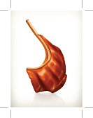 Grilled meat rib, vector icon