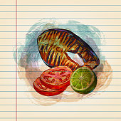 Drawing of Grilled Salmon in watercolour style on ruled paper. Elements are grouped.contains eps10 and high resolution jpeg.