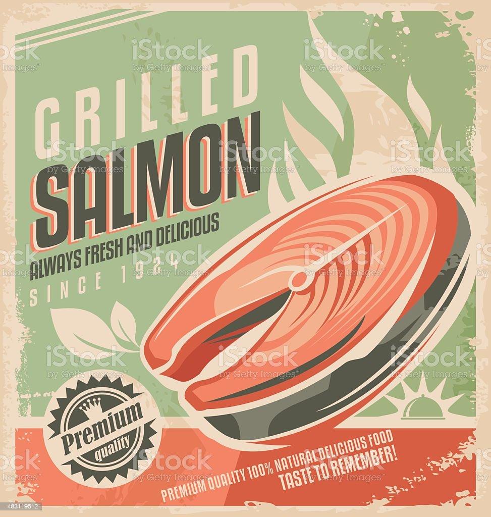 Grilled salmon retro poster design vector art illustration