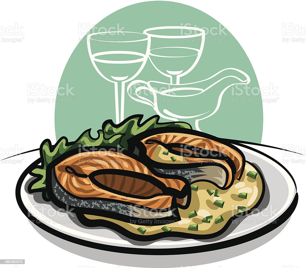 Grilled salmon with sauce vector art illustration