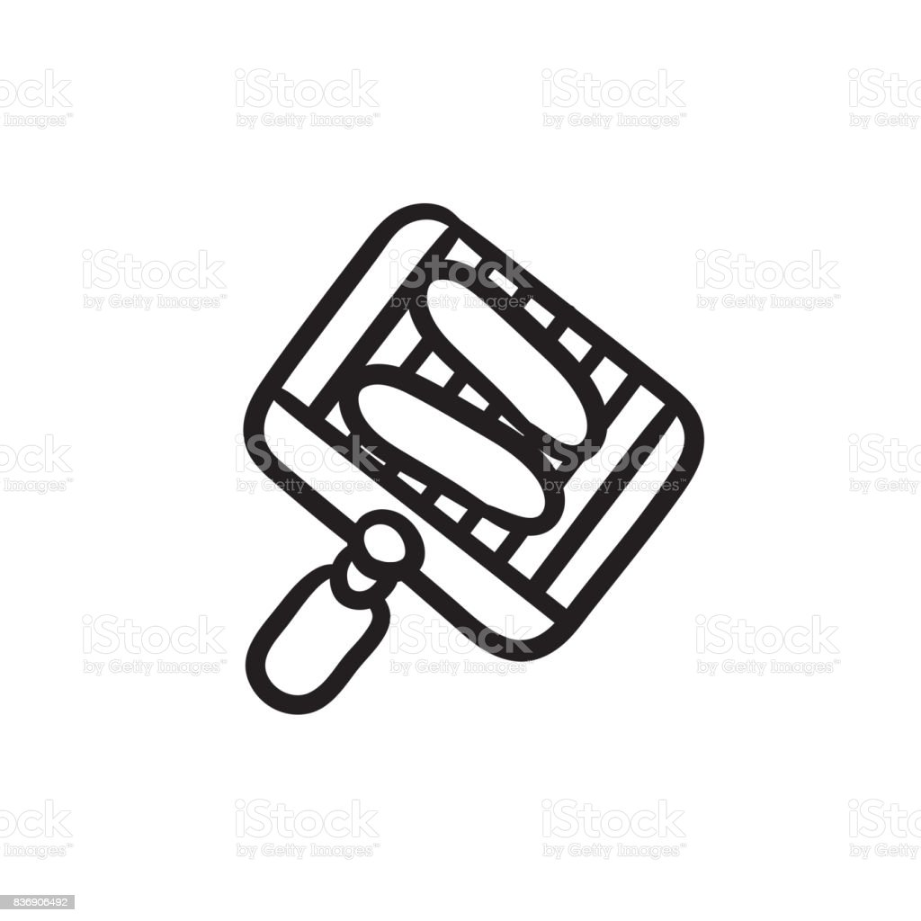 Grilled sausage on grate for barbecue sketch icon vector art illustration