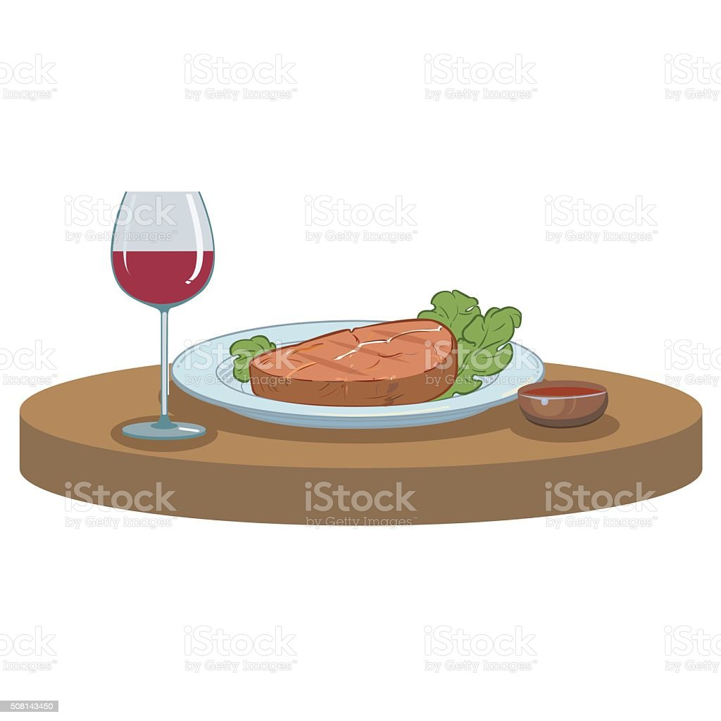 Grilled Steak and a glass of wine vector art illustration