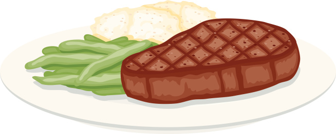Grilled Steak, Green Beans and Mashed Potatoes
