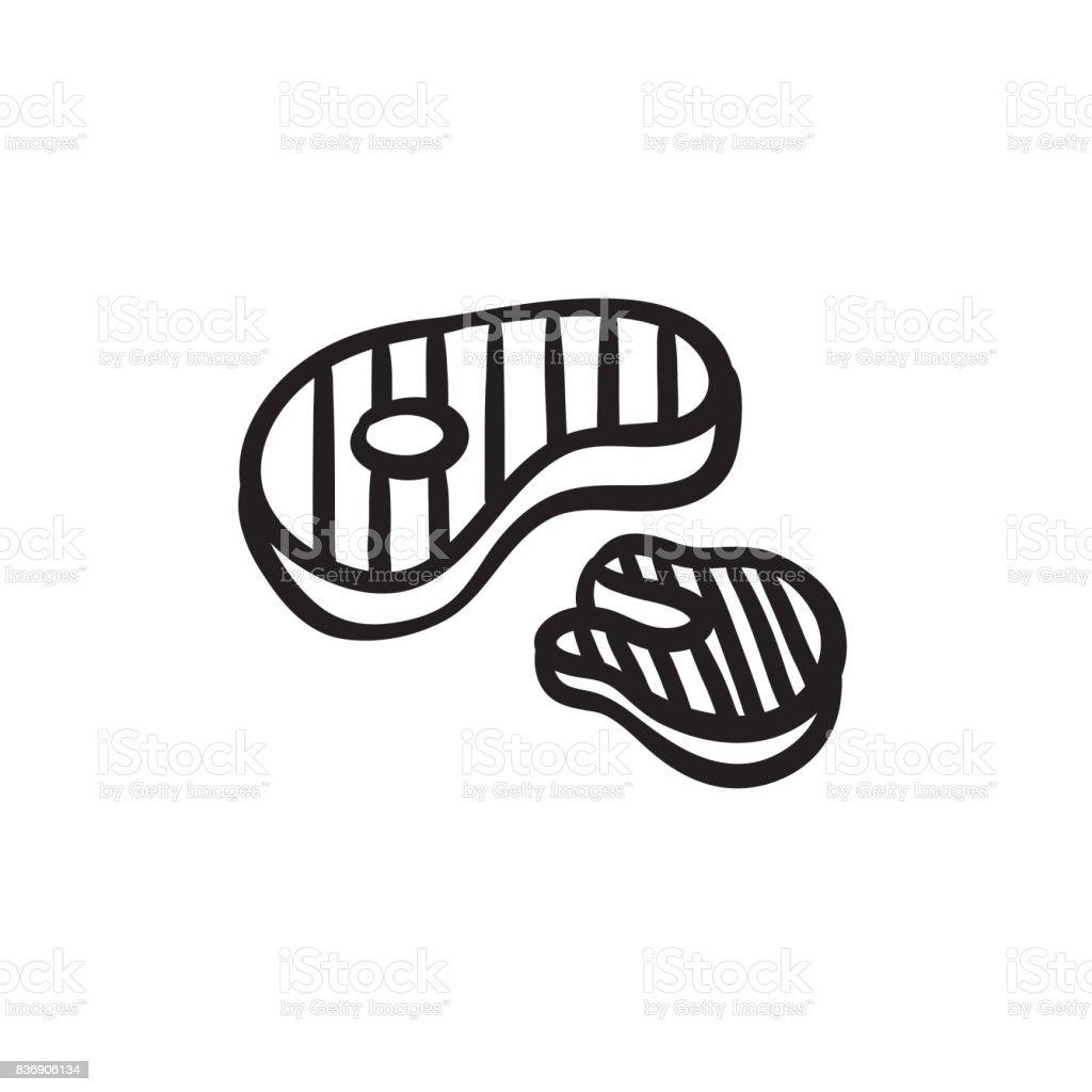 Grilled steak sketch icon vector art illustration