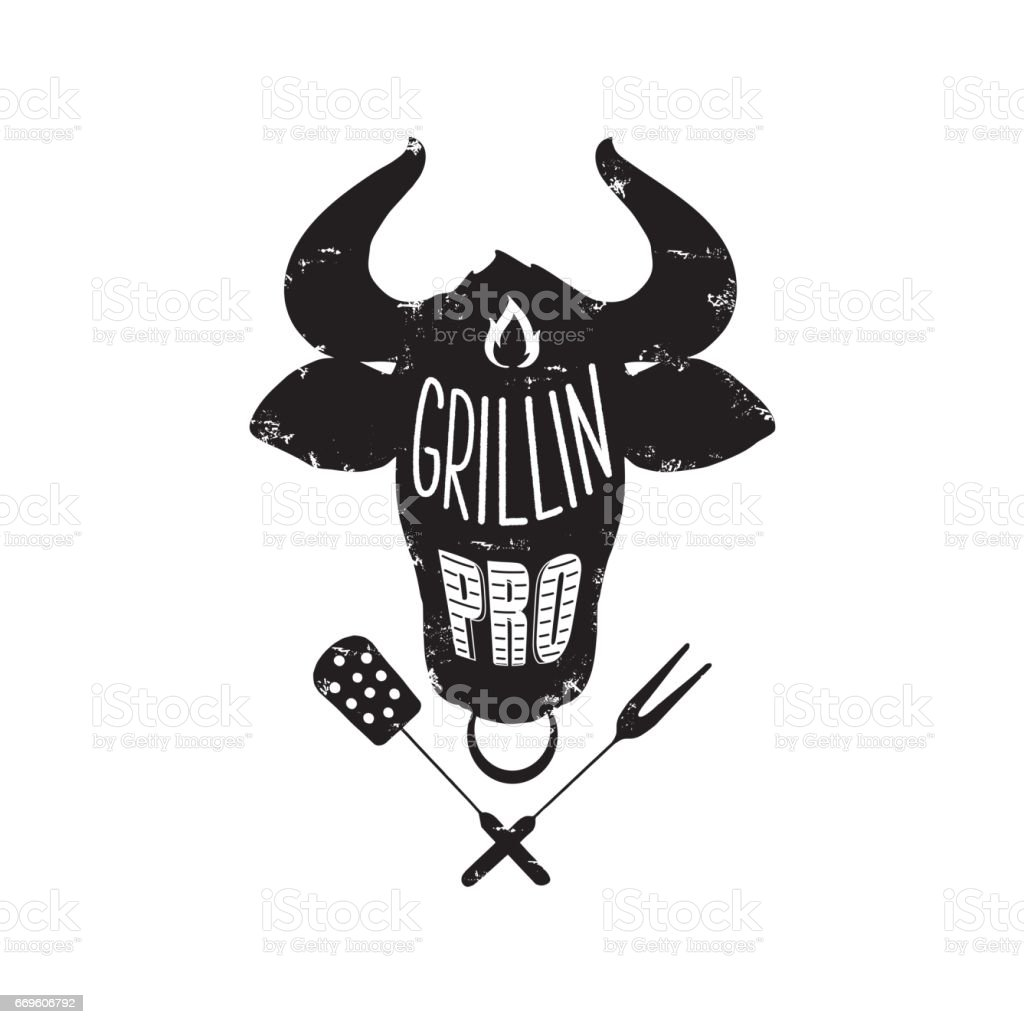 grillin pro poster vector art illustration