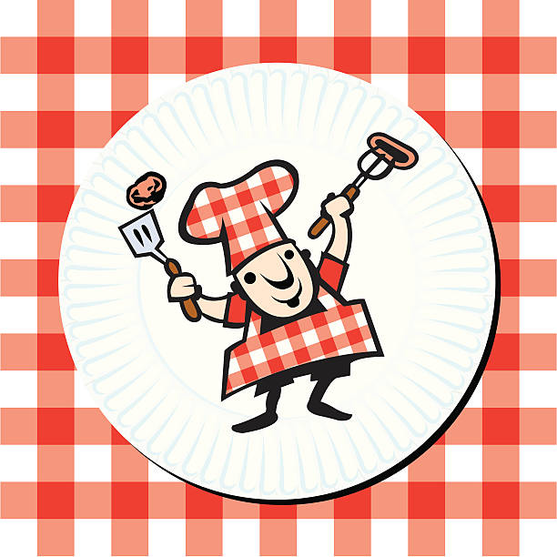 grillen gourmet-barbecue-chefkoch auf pappteller - plastikteller stock-grafiken, -clipart, -cartoons und -symbole