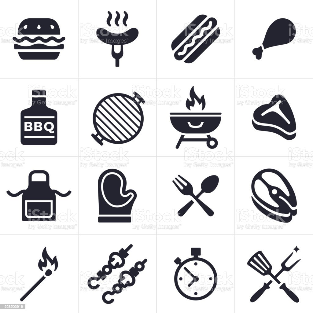 Grilling Icons and Symbols Grilling and outdoor eating icon and symbol collection. Sixteen icons and symbols including hamburger, hotdog, chicken, fish and steak. Also includes grilling tools, hot mitt, grill, kabobs, apron, match and timer. Apron stock vector