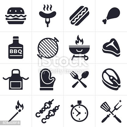 Grilling and outdoor eating icon and symbol collection. Sixteen icons and symbols including hamburger, hotdog, chicken, fish and steak. Also includes grilling tools, hot mitt, grill, kabobs, apron, match and timer.