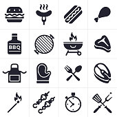 Grilling Icons and Symbols