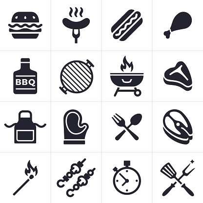 Grilling Icons And Symbols Stock Illustration - Download Image Now