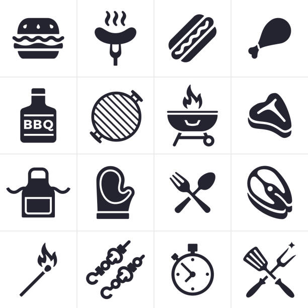 Grilling Icons and Symbols Grilling and outdoor eating icon and symbol collection. Sixteen icons and symbols including hamburger, hotdog, chicken, fish and steak. Also includes grilling tools, hot mitt, grill, kabobs, apron, match and timer. apron stock illustrations