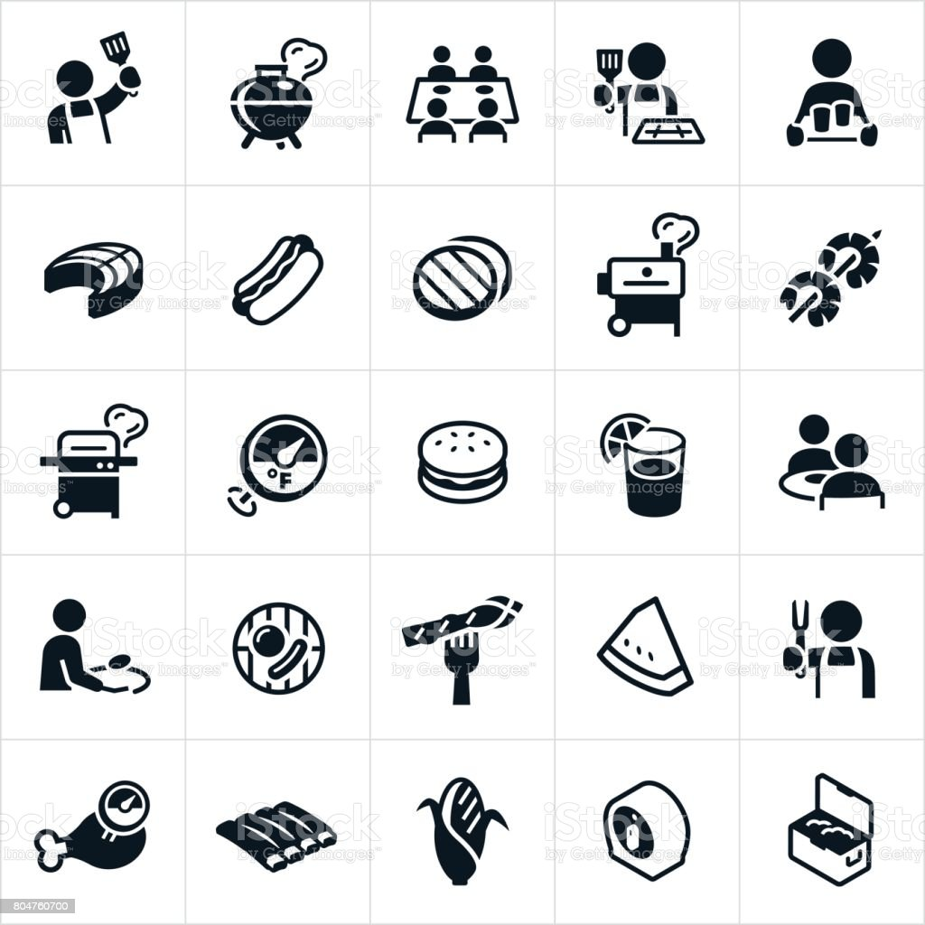 Grilling Icons vector art illustration