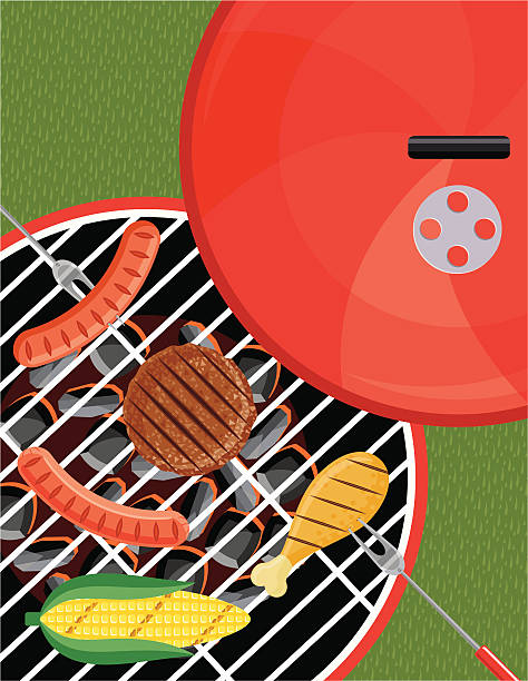 grilling on the bbq - grilling stock illustrations