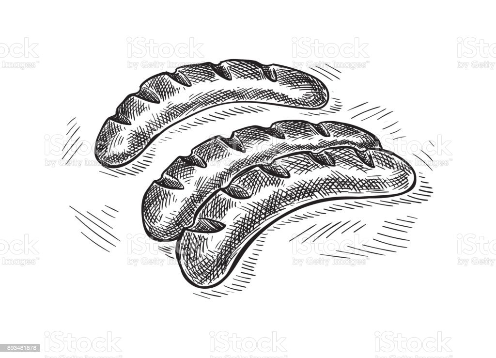 Grilling sausages isolated on white background vector art illustration