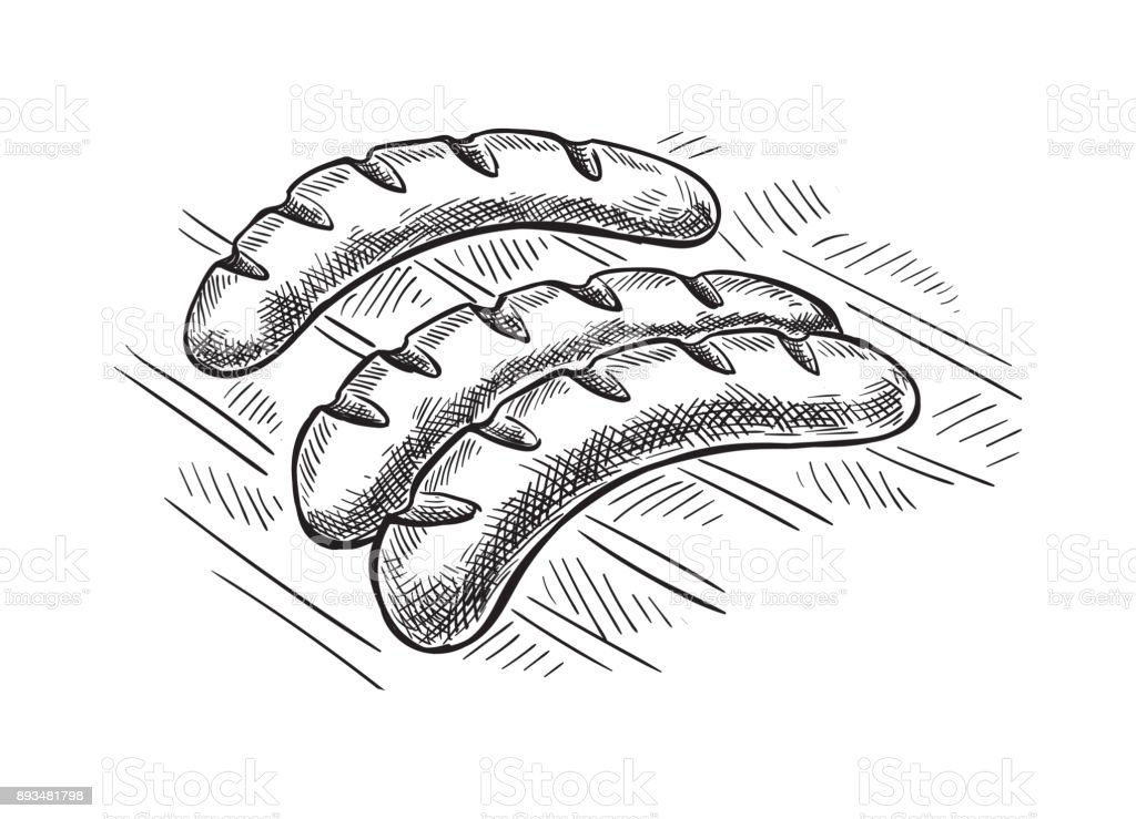 Grilling sausages on barbecue grill. vector art illustration