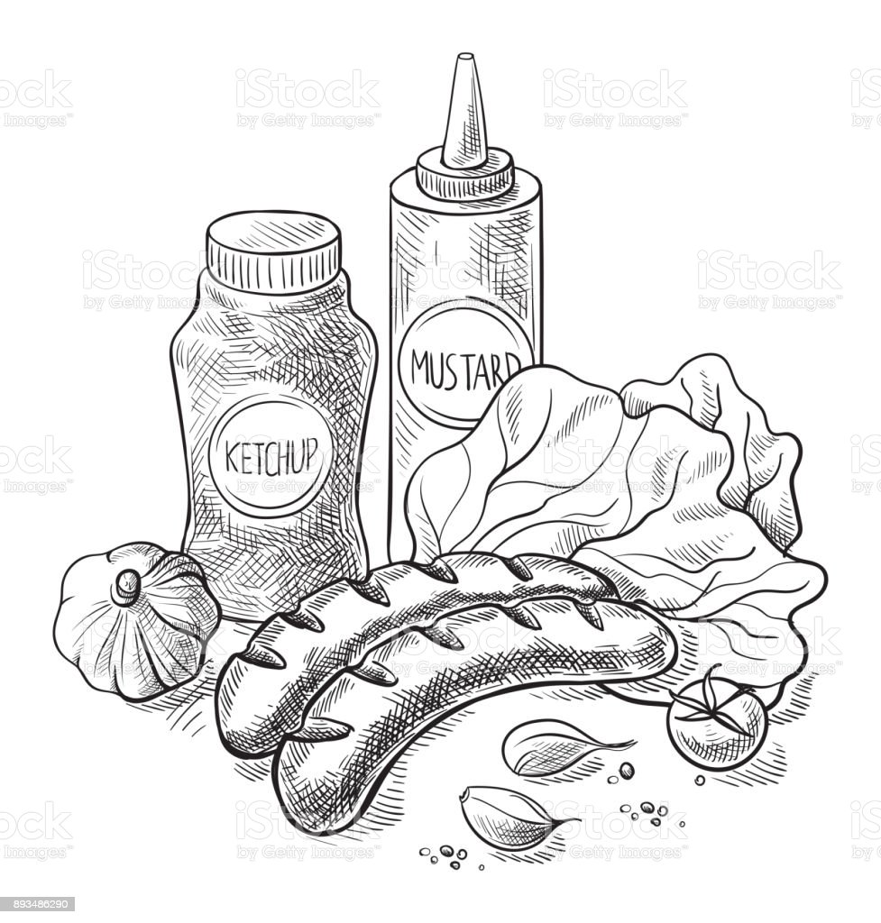 Grilling sausages with sauce isolated on white background vector art illustration