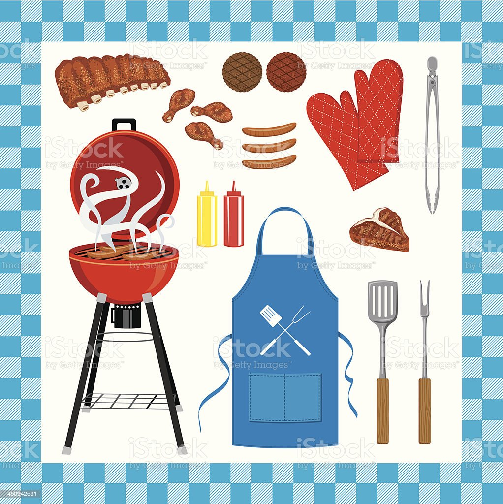 BBQ Grilling Set With Seamless Check Pattern royalty-free stock vector art