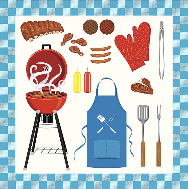 Barbecue Grill senza Set con motivo a quadri - illustrazione arte vettoriale