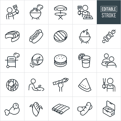 Grilling Thin Line Icons - Editable Stroke