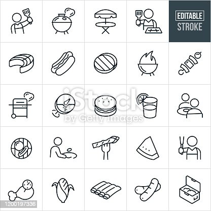 A set of grilling icons that include editable strokes or outlines using the EPS vector file. The icons include a person grilling and holding a spatula, a grill, picnic table, chef at grill, salmon, hotdog, hamburger, shish kabob, thermometer, glass of lemonade, two people at a table eating, hamburger and hotdog on grill, person flipping hamburger, asparagus on fork, watermelon slice, chicken leg, corn, ribs and a ice chest to name a few.