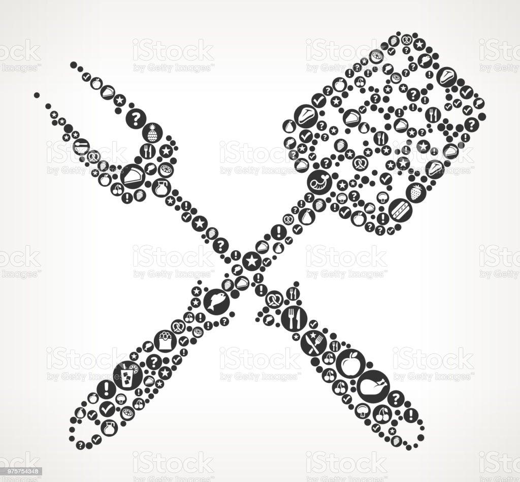 Grillen Geschirr essen schwarz-weiß Symbol Hintergrund - Lizenzfrei Abnehmen Vektorgrafik